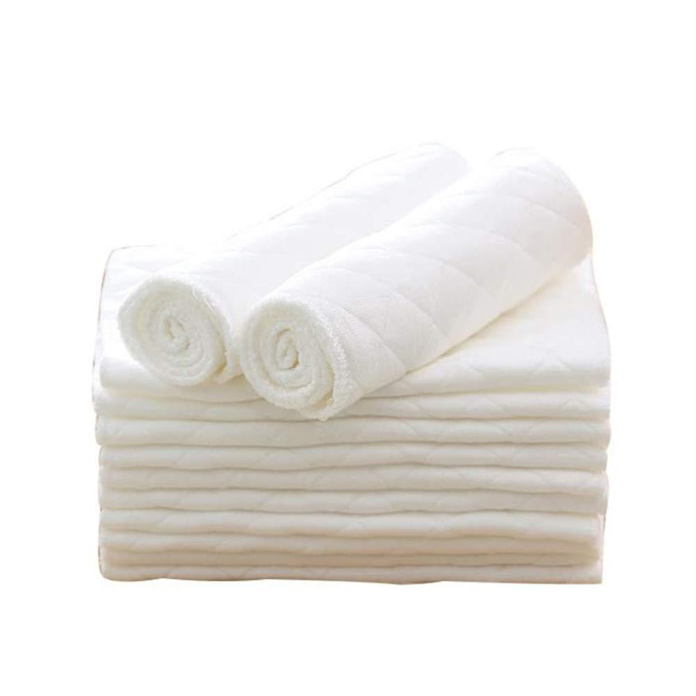 EbuyChX 10Pcs Three Layer Eco Cotton Washable Folding Baby Diapers White