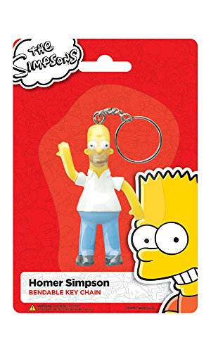 3.5 Inch Animated Bendable Homer Simpson Cartoon Hanging Keychain