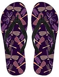 45f972ca9d28e Purple Dragonflies Pattern Summer Beach Flip Flops - Dragonfly Lover Gift