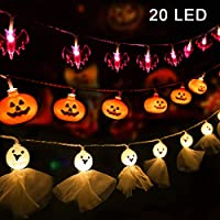 Coolrunner Set of 3 Halloween String Lights Battery Operated 20 LED Each Halloween Decor Lights Orange Pumpkins Bats Ghosts for Halloween Party Decorations Outdoor Indoor