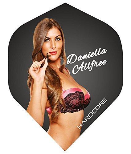 Hardcore Daniella Allfree Extra-spessa, Alette Per freccette, Standard, confezione da 5 pezzi, 15 Dart Flights & in totale), motivo: Dragone Rosso del Checkout Red Dragon Darts