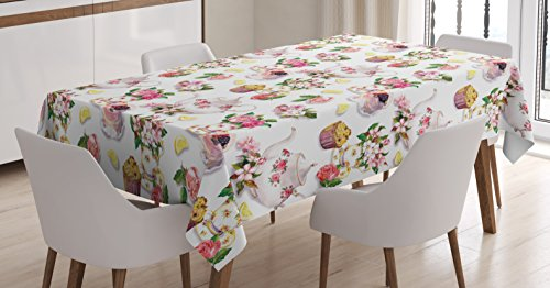 (Ambesonne Kitchen Decor Tablecloth, Roses Shabby Chic Decor Vintage Teapots Flowers Leaves Cakes Lemon Art Print, Dining Room Kitchen Rectangular Table Cover, 60 W X 90 L Inches, Multicolor)