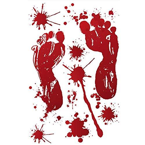 (Wall Stickers - Halloween Red Blood Footprints Fingerprints Decoration Electrostatic Paste Glass Wallpaper - Disney You Outlet Lsu One Music Rooms Vertical Hexagonal)