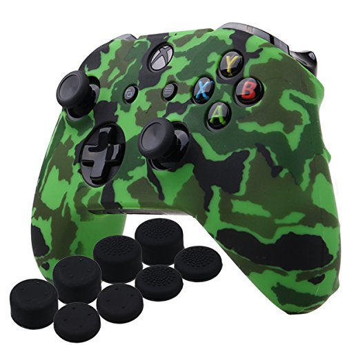 YoRHa Water Transfer Printing Camouflage Silicone Cover Skin Case for Microsoft Xbox One X & Xbox One S controller x 1(green) With PRO thumb grips x 8 For Sale