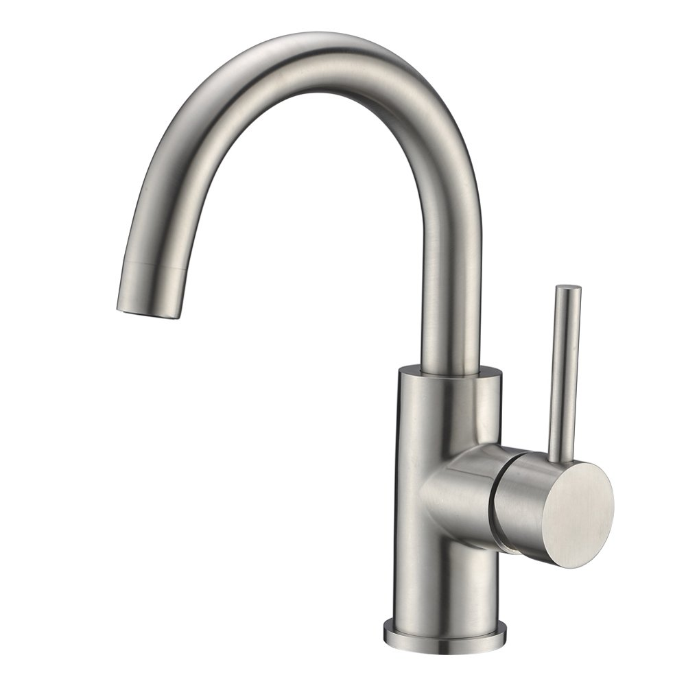 Bar Sink Faucet Crea Stainless Steel Farmhouse Bathroom Lavatory Sink Faucet Mixer,Small Kitchen Faucet Tap Brushed Nickel by CREA