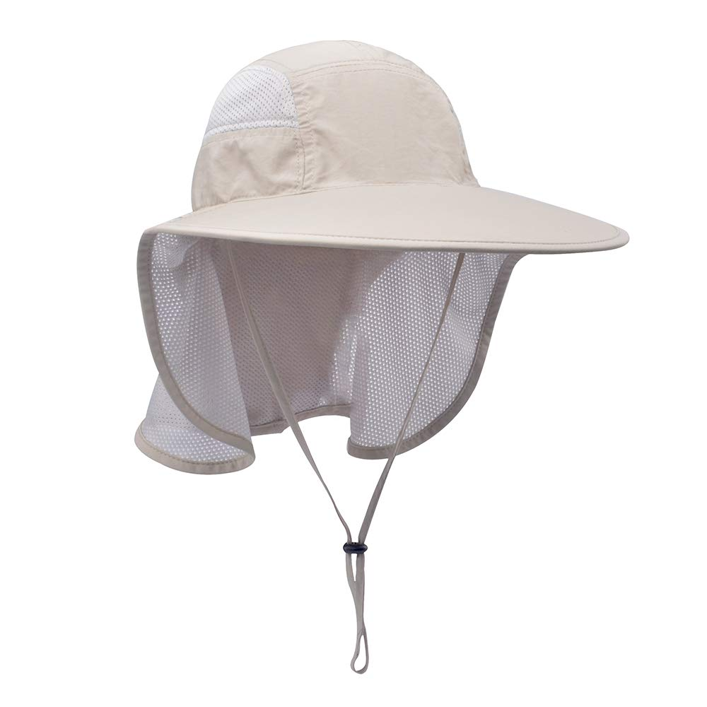 Lenikis Unisex Outdoor Activities UV Protecting Sun Hats with Neck Flap Khaki by Lenikis