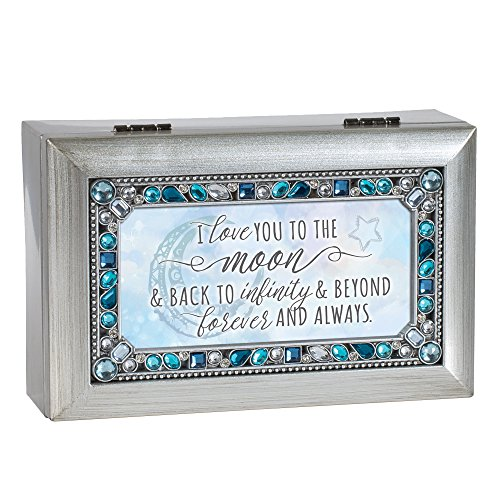 (Love You to The Moon and Back Blue Jeweled Silver Tone Petite Music Box Plays You Light Up My Life)