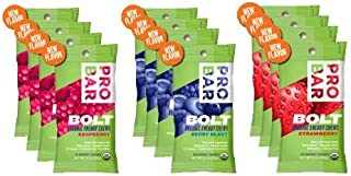 product image for Probar Bolt Organic Energy Chews Bundle Strawberry,berry Blast and Raspberry - Four of Each Flavor, Box of 12