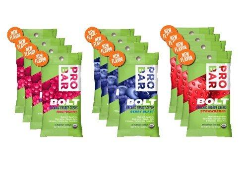 - Probar Bolt Organic Energy Chews Bundle Strawberry,berry Blast and Raspberry - Four of Each Flavor, Box of 12