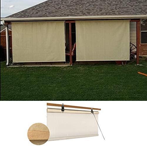 オーニングシェード遮光ネッ ロールカーテンデッキローラーシェードブラインド90%UVプロテクションプライバシー画面クールダウン防雨リフト パンチフリー、45サイズ LJIANW (Color : Beige, Size : 75x250cm)