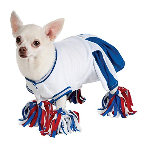 Dog Cheerleader Costumes (Rubies Dog Cheerleader Costume Blue Cheer Leader Pet Outfit Pom Pom Anklets M)
