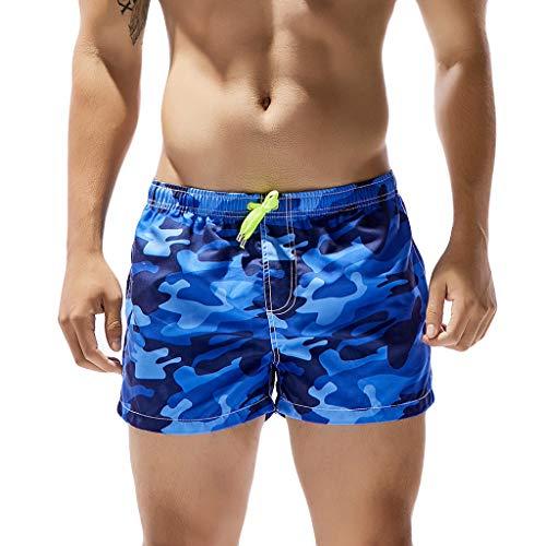 Sharemen Mens Camouflage Swim Trunks Pants Swimwear Shorts Slim Wear Beach  Shorts(Blue d8b4e1dc9f3
