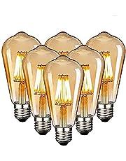 Edison Vintage gloeilamp, Edison LED-lamp, warmwit, E27, 4W, retro gloeilamp, vintage antieke gloeilamp, ideaal voor nostalgische en retro-verlichting in de familie hotelbar, etc - 6 stuks