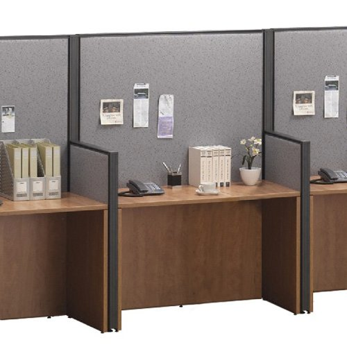 Cubicle Workstation, Telemarketing Station, Call Center Desk, Office Systems Furniture (5'W X 3.5'H - X Configuration, Maple) ()