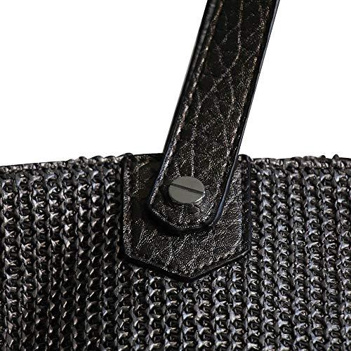 d'abeilles avec poche main contenance nid Shopping Simili Sac tressé Mode noir paillettée cuir grande Noir de et style à 6wFqO7w