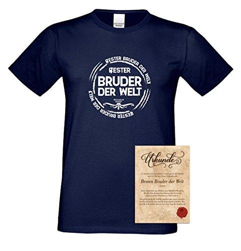 Bruder Geschenkeset Fun-T-shirt zu Weihnachten oder zum Geburtstag mit GRATIS Urkunde - Bester Bruder der Welt Farbe: navy-blau Gr: S
