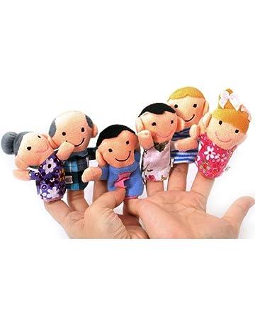 TOOGOO(R) Juego de 6 Marionetas de Dedo - Familiares Incluyen Madre, Padre