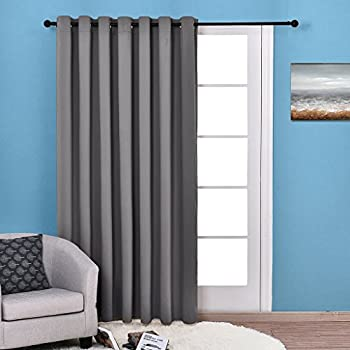 NICETOWN Thermal Insulated Wide Width Solid Blackout Curtain / Drape,  Sliding Door Insulated Curtain,Extra Wide Curtain (One Panel,100 X  84 Inch,Grey)