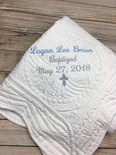 Personalized Baptism Blanket Gift for Baby Girl keepsake boys toddler keepsakes Christening newborn