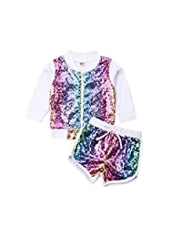 Kids Little Girl Sequins Outfit Glitter Zipper Long Sleeve Sweatshirt Top and Shorts Pant Clothes