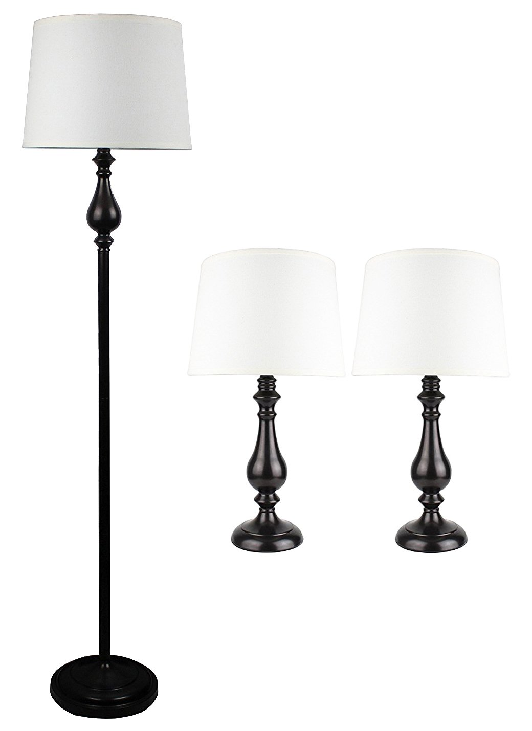 Urbanest McKinley 3-piece Table and Floor Lamp Set in Oil-rubbed Bronze with Natural Linen Shade
