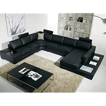 VIG T35 Contemporary Black Leather With Adjustable Headrest And Built In Lighting Living Room Sectional Sofa