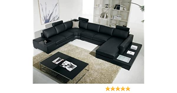 T35 VIG Contemporary Black Leather With Adjustable Headrest And Built In  Lighting Living Room Sectional Sofa
