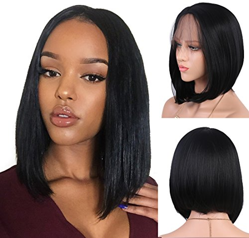 Andria Hair Bob Lace Front Wigs for Black Women Long Bob Synthetic Lace Wig Layered Straight Wig Heat Resistant Short Hair Wig (14 Inch # 1 B - Usps Average Delivery Time For