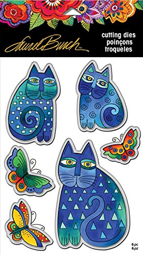 2 Item Bundle Stampendous Laurel Burch Cling Stamp and Die Indigo Cats