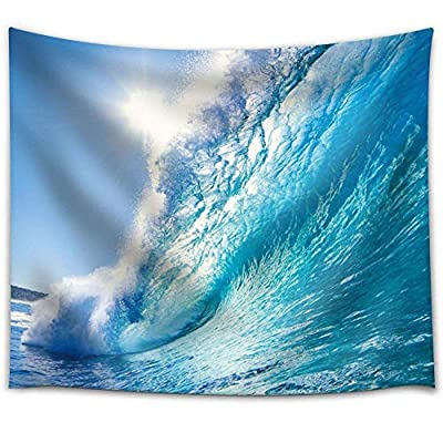 Sun Over a Big Ocean Splashing Wave - Fabric Tapestry, Home Decor - 51x60 inches