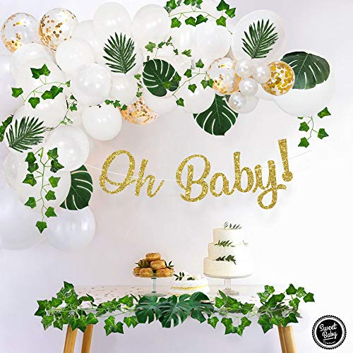 (Sweet Baby Co. Greenery Boho Baby Shower Decorations Neutral with Balloon Garland, Oh Baby Banner, Ivy Leaf Garland Vines Decoration | Fake Greenery Decor for Jungle, Safari, Woodland Backdrop Theme)