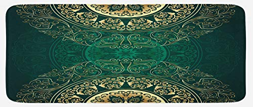 Oriental Floor Mat - Lunarable Hunter Green Kitchen Mat, Retro Oriental Mandala Style Floral Circle Antique Swirls Pattern, Plush Decorative Kithcen Mat with Non Slip Backing, 47 W X 19 L Inches, Green Yellow