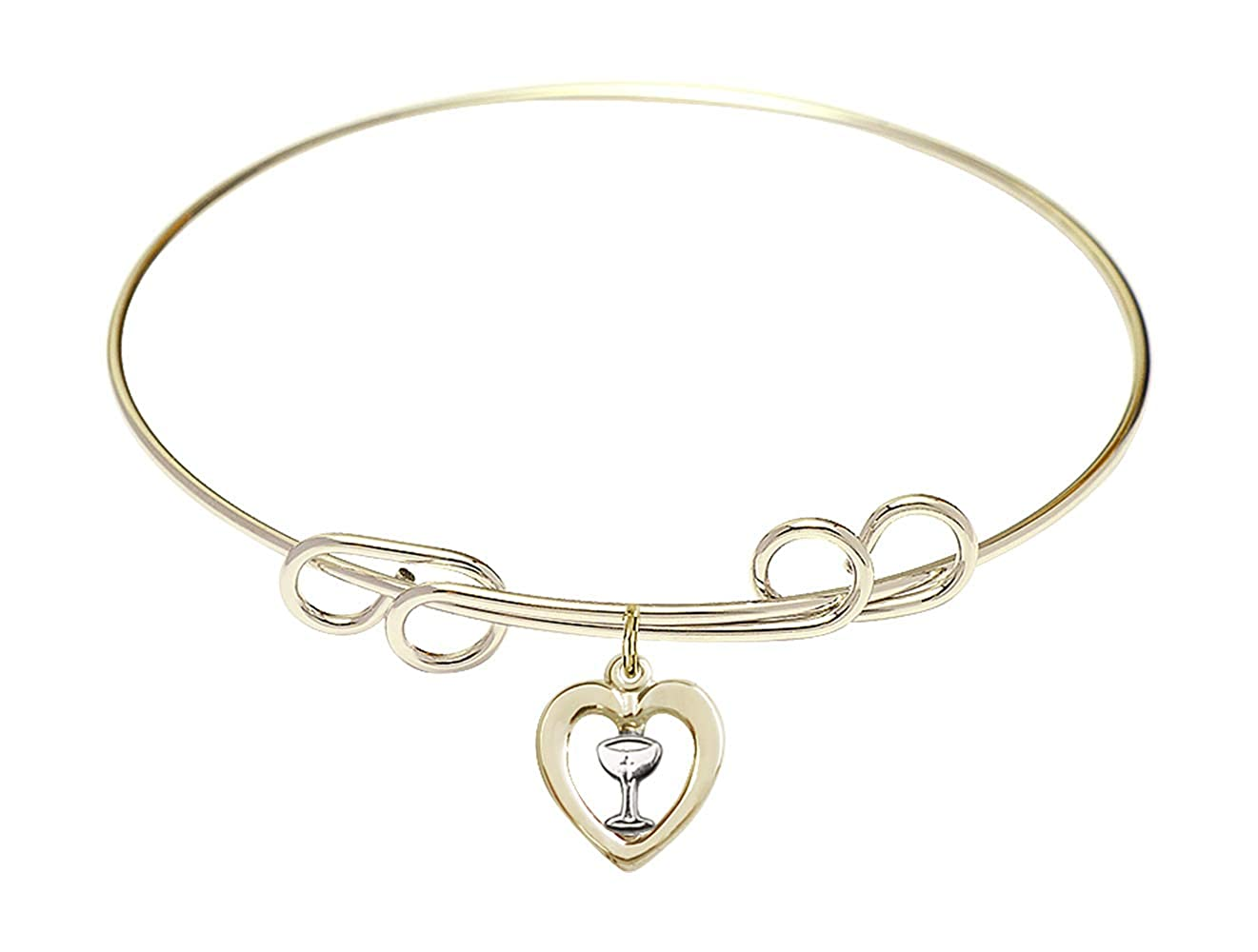 DiamondJewelryNY Double Loop Bangle Bracelet with a Heart//Chalice Charm.