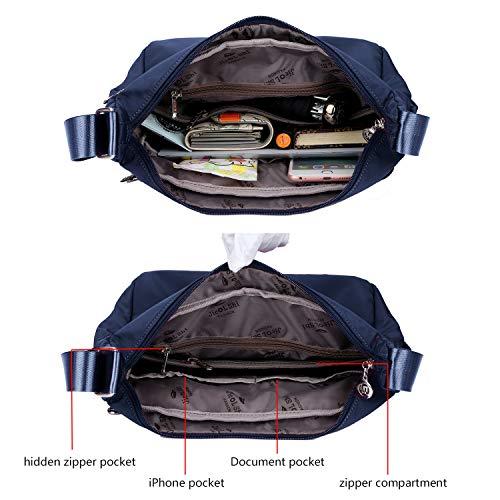 Crossbody Bag for Women Waterproof Shoulder Bag Messenger Bag Casual Canvas Purse Handbag (Small, Navy Blue) by NOTAG (Image #2)