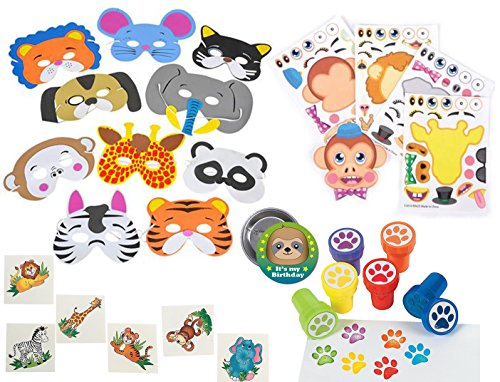 Animal Theme Party Set for Boys and Girls, 12 Animal Foam Masks, 12 Paw Print Stampers, 12 Make Your Own Animal Faces, 36 Animal Tattoos and Sloth Birthday Pin - Ideal for Zoo, Safari Parties