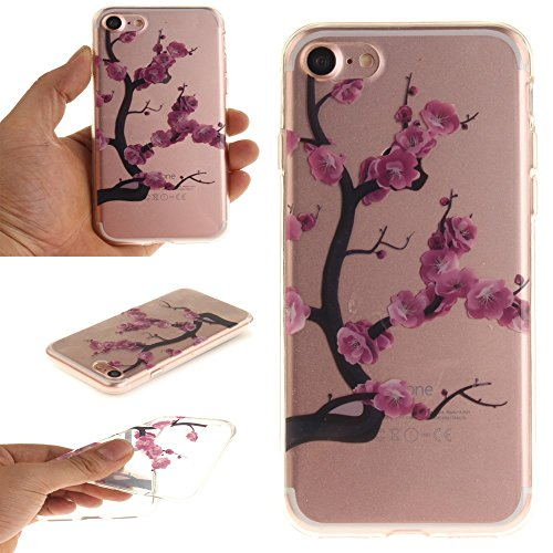 Patterned Clear IMD TPU Protective Tasche Hüllen Schutzhülle Case für iPhone 7 4.7 - Violet Plum Blossom
