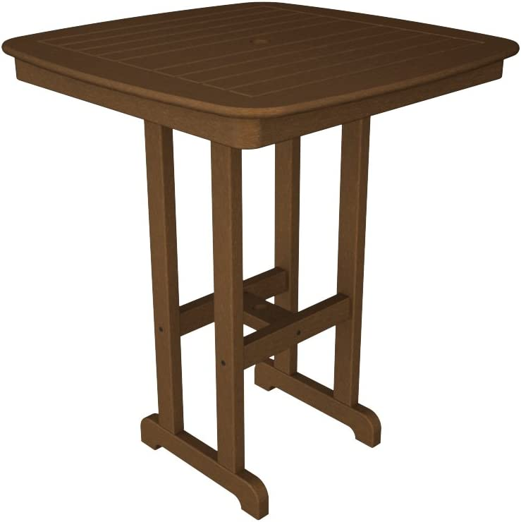 POLYWOOD NCBT37TE Nautical Bar Table, 37-Inch, Teak