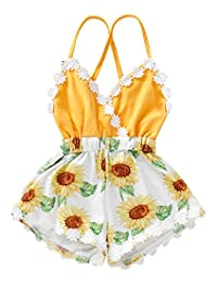 SUPEYA Toddler Baby Girls Sunflower Print Lace Trim Backless Romper Shorts Jumpsuit