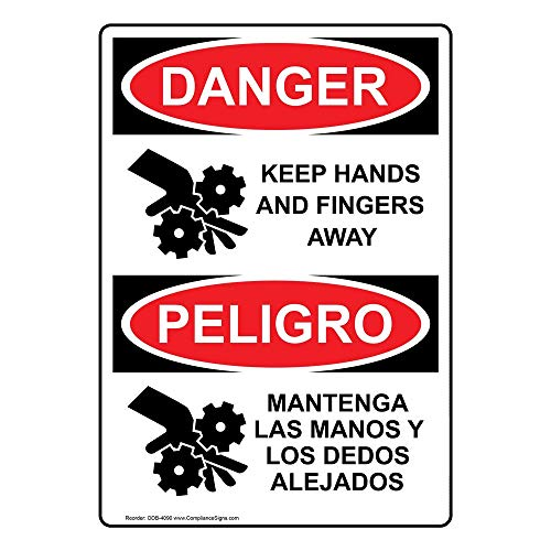 (ComplianceSigns Vinyl OSHA DANGER Label, 5 x 3.5 in. with Machine Safety Info in English + Spanish, 4-pack White)