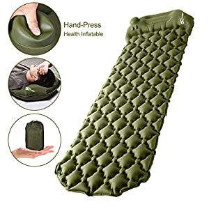 Camping Sleeping Pad, Upgraded Inflatable Camping Mat with Built-in Pump, 2.5″ Thick Sleeping Pads, Durable Waterproof Air Mattress Compact Ultralight Hiking Pad for Tent,Travel, Backpacking, Hiking