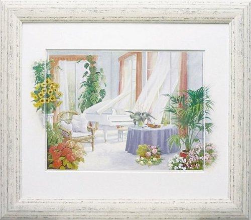 絵画 ピーター モッツ ホワイト ピアノ絵画 インテリア 壁掛け アート ポスター フック 海 ピカソ 額縁 B01BSUN4AS