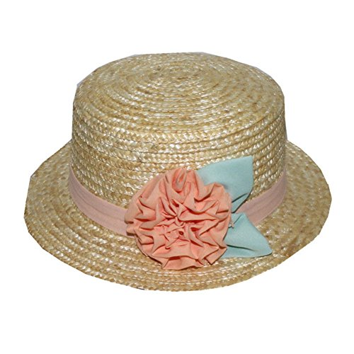 AMAZZANG-Women Lady Boater Summer Beach Bowknot Ribbon Round Flat Top Hard Straw Sun Hat - Replica Tom Ford