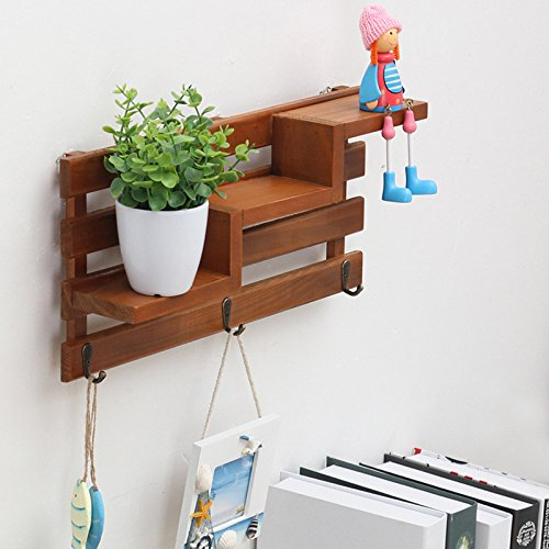 SODIAL Solid Wood Wooden Wall Mounted Vintage Retro Rack 3 Hanger Hooks Floating Storage Shelf Display Rack Home Decor
