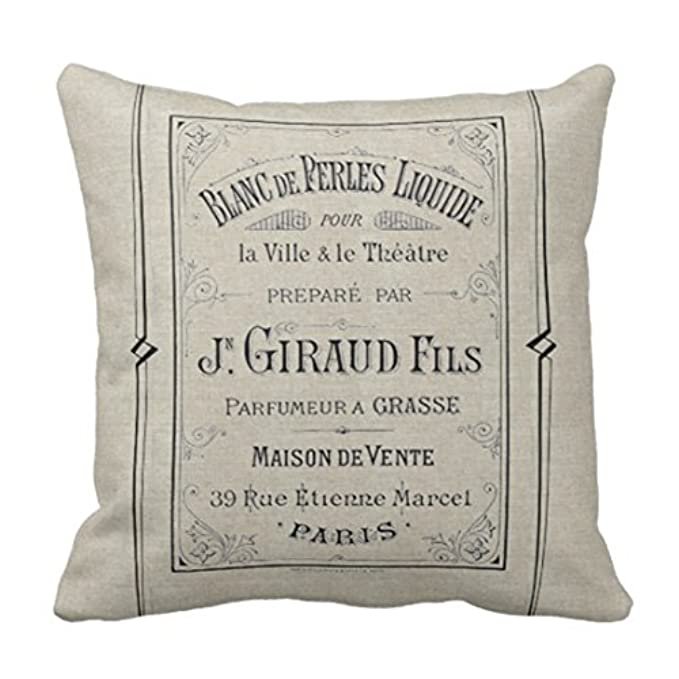 grain sack pillows with french words
