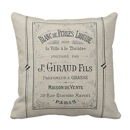 Emvency Throw Pillow Cover Vintage Advertisement French Perfume Ad Paris France Chic Decorative Pillow Case Home Decor Square 20 x 20 Inch Pillowcase
