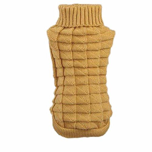 haoricu Puppy Clothes Warm Doggie Cute Knitted Sweater Classic Pet Dog Shirt Apparel ()