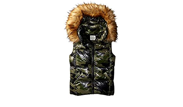 ea52f5f8c380a Amazon.com: S13 Girls' Big Camo Snowcat Down Vest with Faux Fur Hood:  Clothing