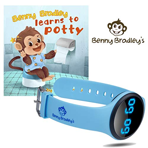 Benny Bradley's Potty Training Watch, with Potty Training eBook - Musical and Vibration Interval Reminders, Water Resistant, for Babies, Toddlers and Kids Potty and Toilet Training (Blue) (Potty Training Watch For Toddlers)