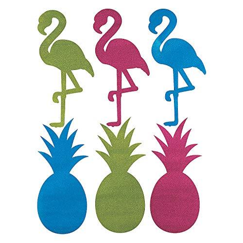 Fun Express - Luau Gltr Pineapple Flamingo Lrg Cutouts - Party Decor - Wall Decor - Cutouts - 6 Pieces - Out Cut Flamingo