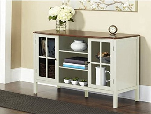 This 2-Door Console Cabinet features a curved, natural wood top and is painted with an attractive finish that blends well with most decors.